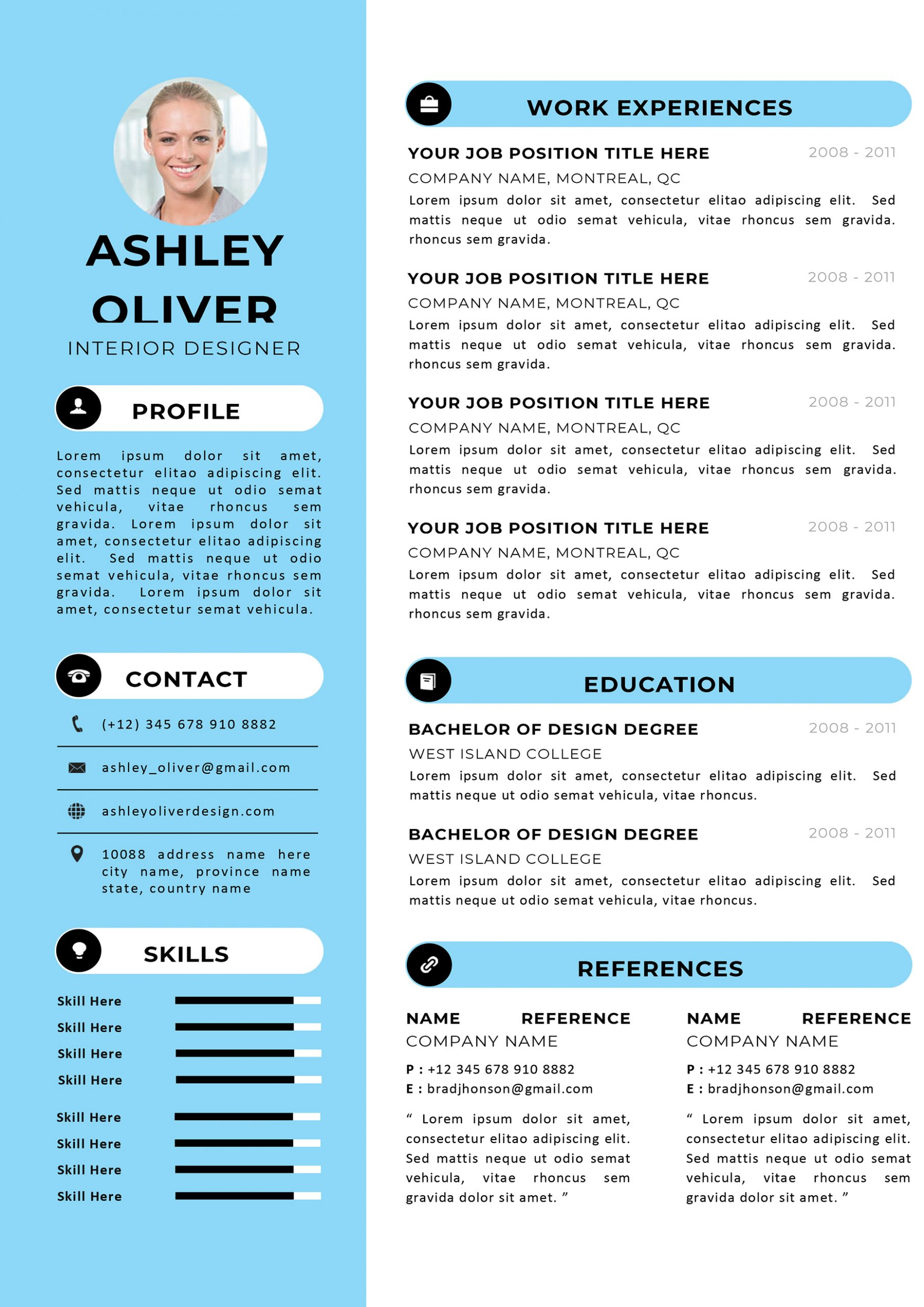 Interior Designer Cover Letter Modern Professional Cv Resume Templates Get Your Winning Resume
