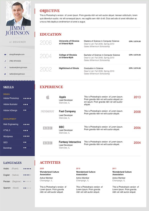 photographer resume/cv